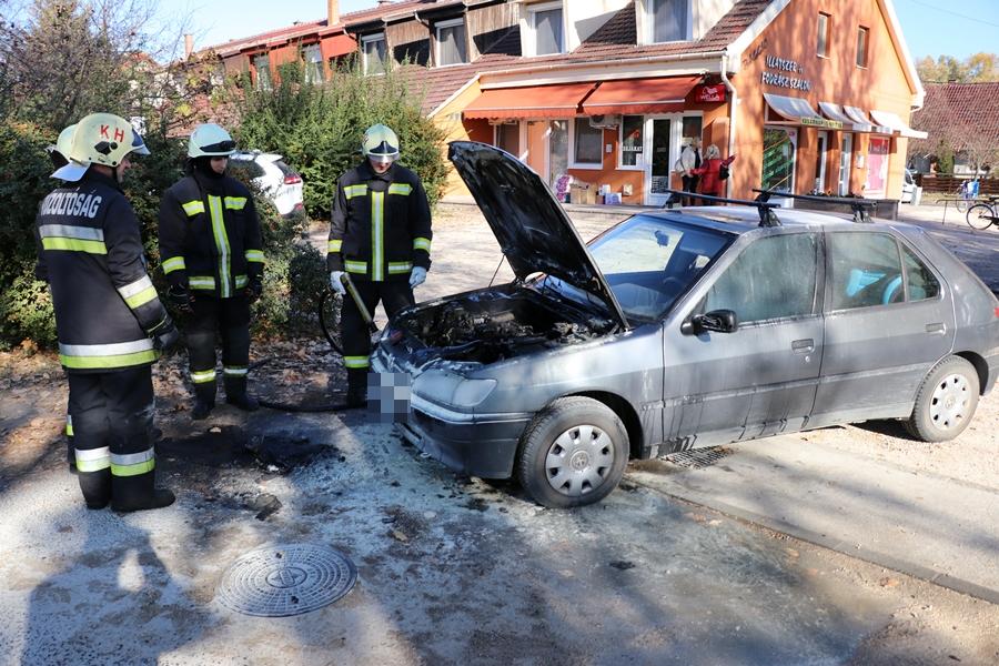 Kigyulladt egy Peugeot, civilek segítettek a sofőrnek