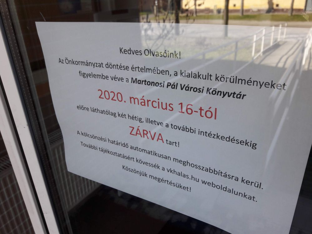Bezártak a közművelődési intézmények