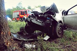 Fának csapódott egy autó a zsanai úton, a sofőr súlyosan megsérült (galéria)